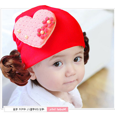 Korean winter baby knitted hat cap ear cap set of infant and child caring girl flowers wig cap(China (Mainland))
