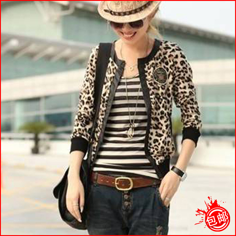 Autumn 2013 women's cardigan jacket leopard print long-sleeve short jacket top female short coat design(China (Mainland))