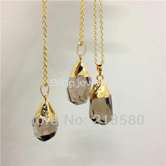 SN-069 Faceted Waterdrop Smoky Quartz Crystal Pendant Necklace Gold Plated(China (Mainland))