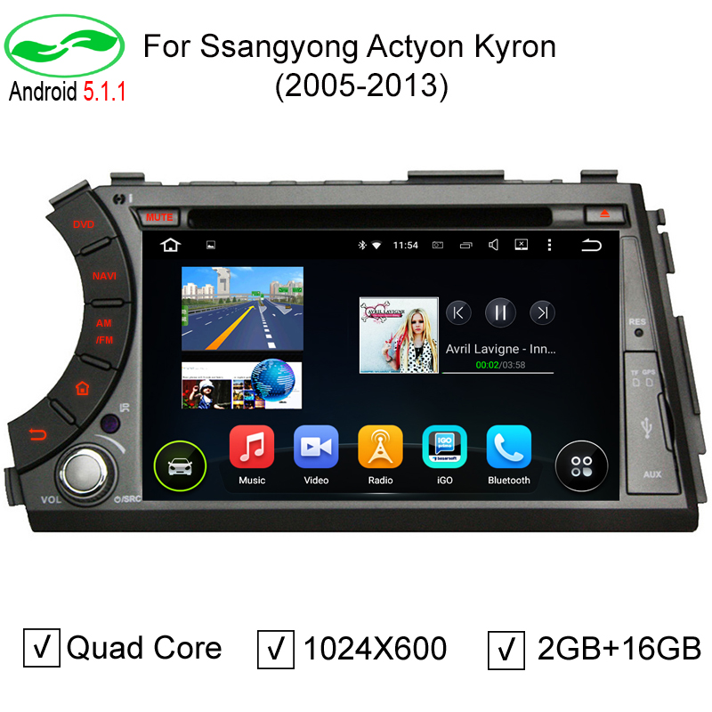 """HD 7"""" 1024*600 Android 5.1.1 Auto PC Car DVD GPS Navigation For Ssangyong Actyon Kyron With 3G WiFi OBD DVR Stereo Radio(China (Mainland))"""