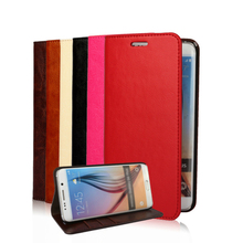 2015 New Luxury Retro 100% Real Leather Case for Samsung Galaxy S6 Edge plus Wallet Stand Mobile Phone Accessories Bags Cover