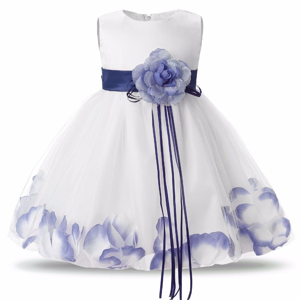 Brand Flower Kids Clothes Girls Dresses Wedding Party Wear Children Bridesmaid Dress Beautiful Petals Christening Gown - Sweet Heart Baby store