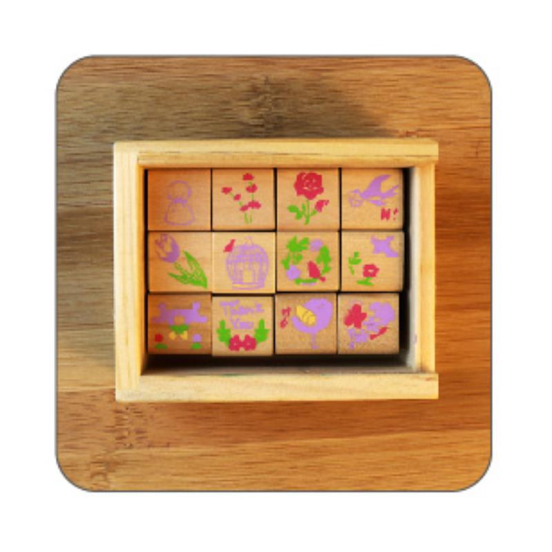 Living / office / funny / Fashion 12pcs birds square DIY Rubber Wooden stamp Signet Box Stationery school supplies(China (Mainland))