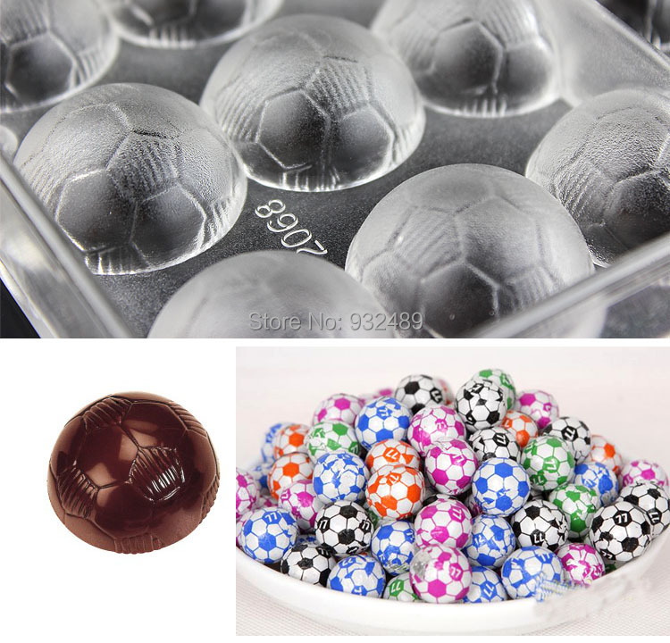 custom made 3d plastic PC Polycarbonate chocolate mini Football shaped molds moulds tray manufacturer supplier from China(China (Mainland))
