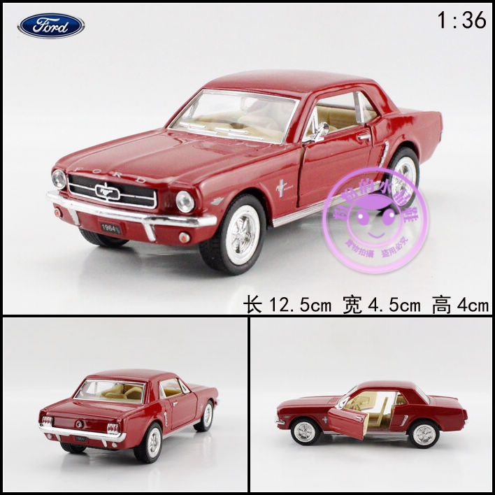 Brand New KINGSMART 1/36 Scale USA 1964 Ford MUSTANG Diecast Metal Pull Back Car Model Toy For Gift/Kids/Collection(China (Mainland))