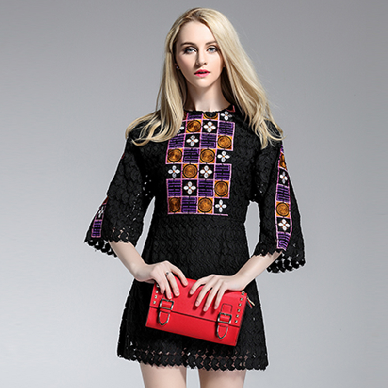 Elegant Dresses Summer 2015 Europe Fashion New Vintage Style 3/4 Sleeve Lace Embroidery Hollow Slim Loosen - Lily store