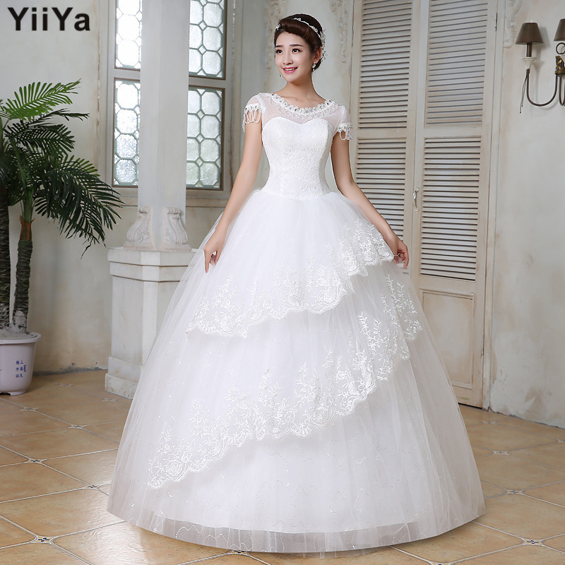 Free shipping wedding dresses 2015 white plus size lace for White wedding dress cheap