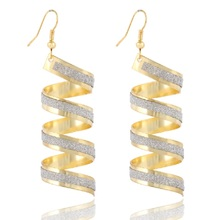 2016 New Design Hot Sales Fashion Personality Punk Classic Gold/Silver Big Spiral Pendant Earrings For Women Jewelry Accessories