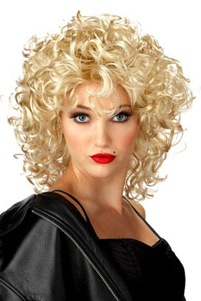 Cosplay Night Club Funky Lite Curly Short Blond Wig party wig Fiber Synthetic Hair party Wigs Halloween Carnival Christmas Day(China (Mainland))