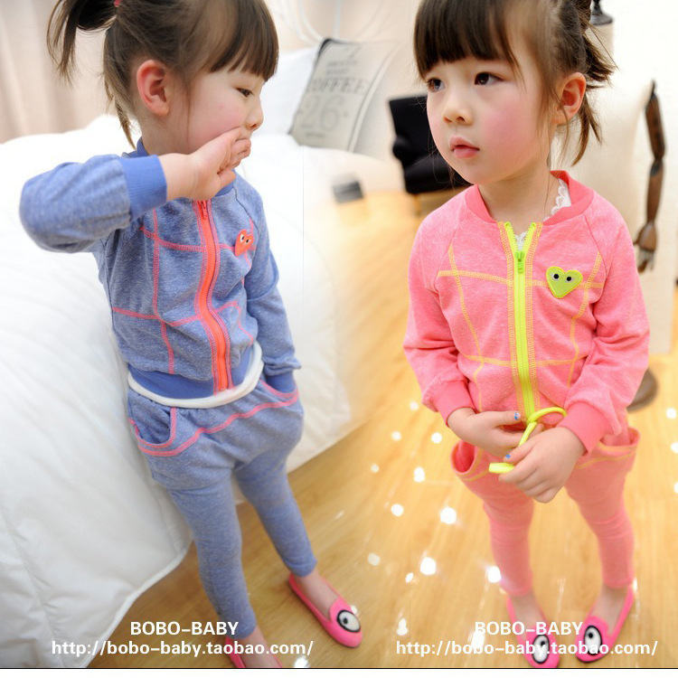 In the autumn of 2014 children's clothing han edition comfortable tide the card cuhk children's cotton suit sportswear(China (Mainland))