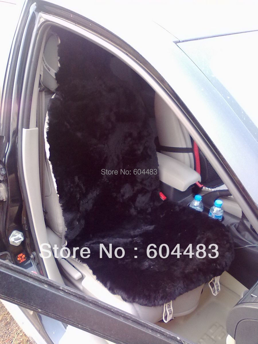 Фотография 1 pcs Patch Work Genuine Sheepsin Car Seat Cover (Black) Free Shipping