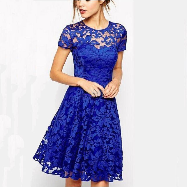 2015 New Fashion Sexy Women Dress Summer Spring Casual Cocktail Party Dresses Woman Vestidos Blue&Black Red Lace Dress(China (Mainland))