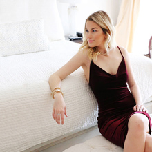 Buy Summer Women Sexy Bodycon Velvet Dress Shoulder Spring Bandage Party Club Backless Elegant Strap Ladies Dresses Plus Size for $10.36 in AliExpress store