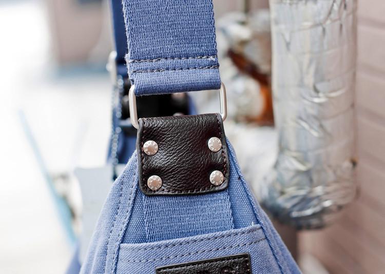 случайный холст кожаный Большой бродяга мешок плеча мешки для женщин сумочка черный/кофе/светло голубой