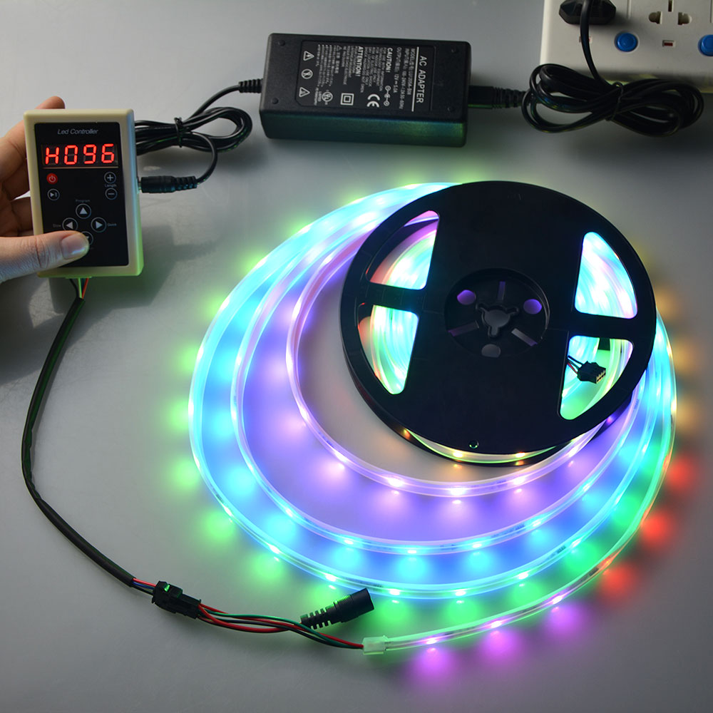 1Roll Romantic Dream Colors RGB LED Strip light 12V 5M Waterproof + RF Remote + Power Adapter For Holiday Decoration Lighting(China (Mainland))