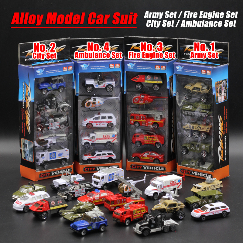 5PCS/Set 1:64 Diecasts Alloy Model Car Suit Army City Fire Engine Boy Toy Car Hot Wheels Cars Machines Kids Toys for Children(China (Mainland))