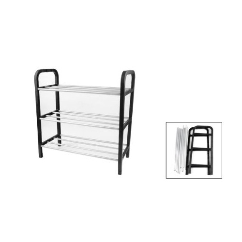 CLOS Black Plastic Stand Silver Tone Metal Tube Design 3 Tier Shoes Rack(China (Mainland))