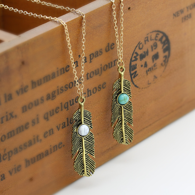 Bohemian Feather Tassel Necklace Leaf Statement Charm Chain Women Blue Beads Pendant Choker Gold Color Silver Jewelry Accessory(China (Mainland))