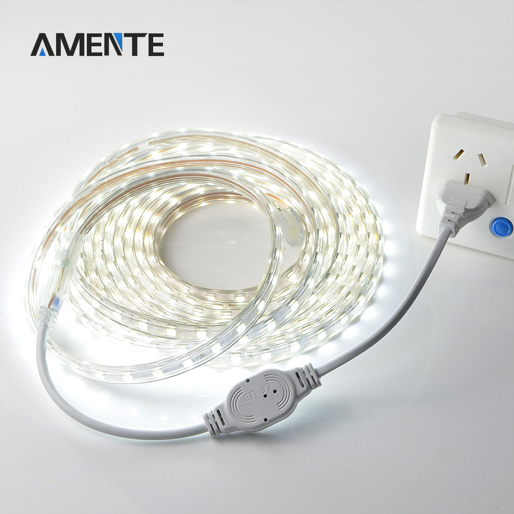 AC 220V 230V 5050 SMD LED Strip light flexible Tape IP67 Waterproof 1M/2M/3M/4M/5M 60 leds/m Christmas Decoration Lamp(China (Mainland))