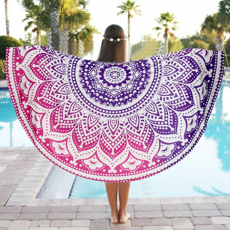 Round Beach Pool Home Shower Towel 2016 new Blanket Table Cloth Sports GYM Mat summer Shawls and Scarves for bikini push up(China (Mainland))