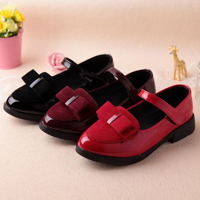2016 весна детская одежда обувь девушки кожаные ботинки с бантом принцесса обуви свет PU студенты белый красный черные кроссовки детей 27 - 37