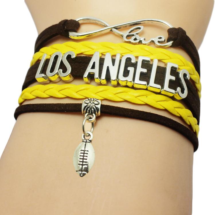 Customizable Sports Los Angeles Team Jewelry Men Infinity Love Baseball Bracelet Softball Baseball Bracelets(China (Mainland))