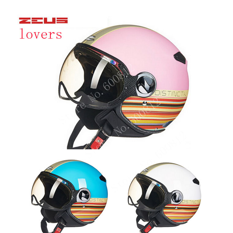 DOT Women pink blue ZEUS ZS-210c half face motorcycle helmet with Lining unpick and wash, motorbike helmets scoote dirt bike(China (Mainland))