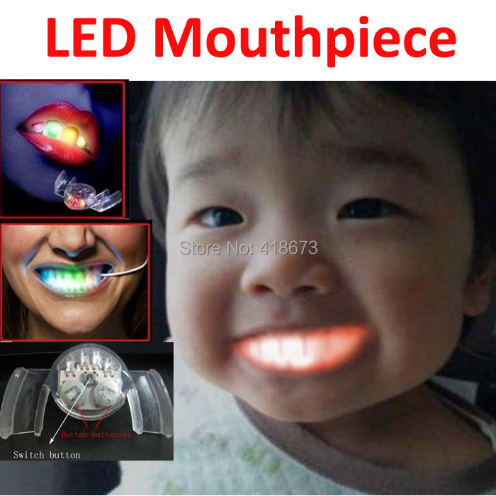 Nueva moda Awesome Novelty LED Mouthpiece Flashing Light Party in the Mouth Great for Halloween Cosplay Party Play Toy(China (Mainland))