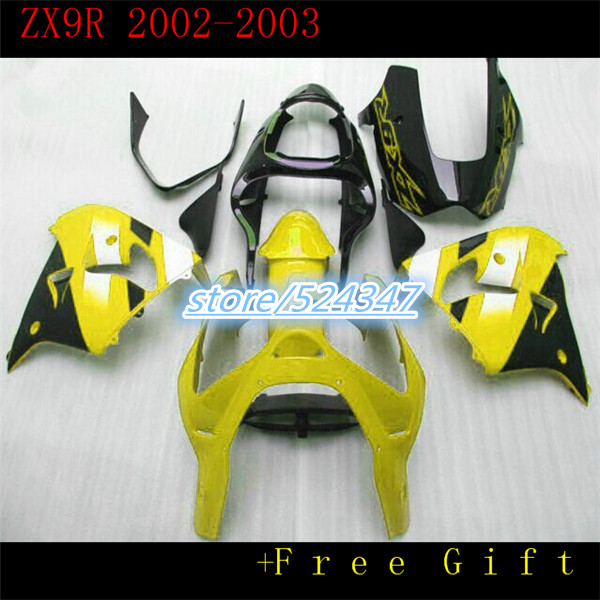 100% of cheap selling motorcycles from repsol Ninja ZX9R 02-03 ZX - 9 r kawasaki Ninja fairing ZX9R yellow black body part three(China (Mainland))