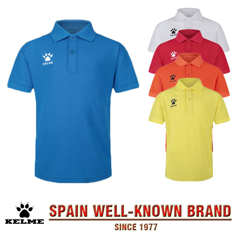 KELME Official Authentic Spain High Quality Summer Polo Shirts Boys Girls Kids Turn-Down Collar Short Sleeves Outdoor Jerseys 63(China (Mainland))