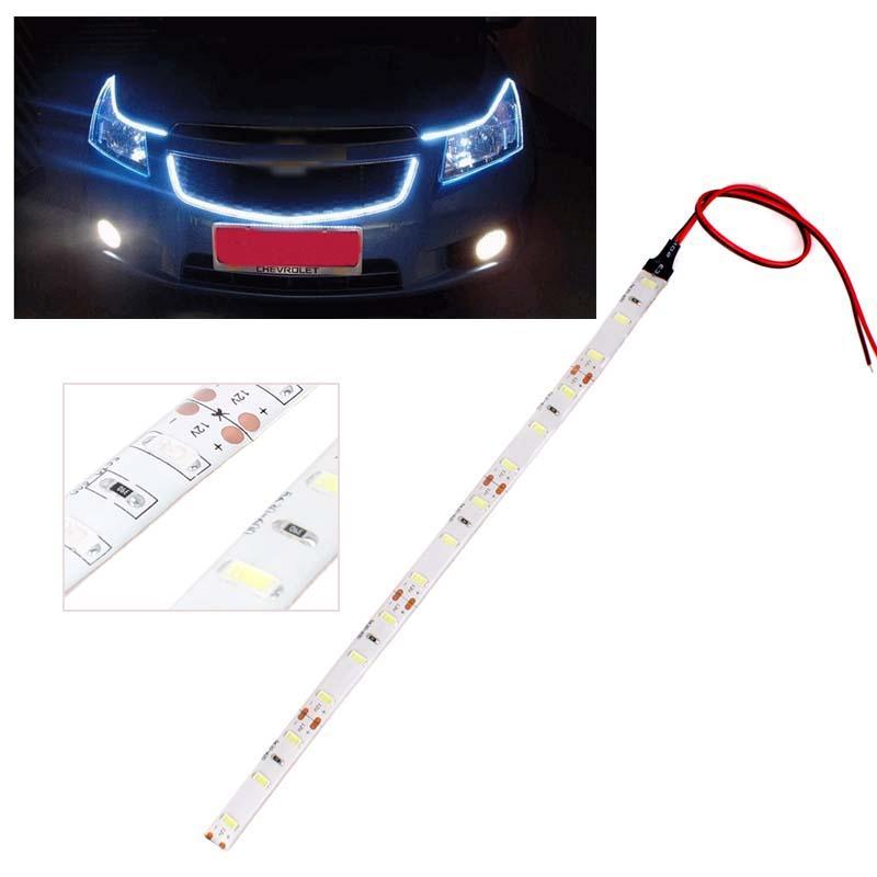 DIY 4 Colors 25CM 15 LED SMD 5630 Car Auto Flexible Waterproof Strip Light Lamp #64909(China (Mainland))