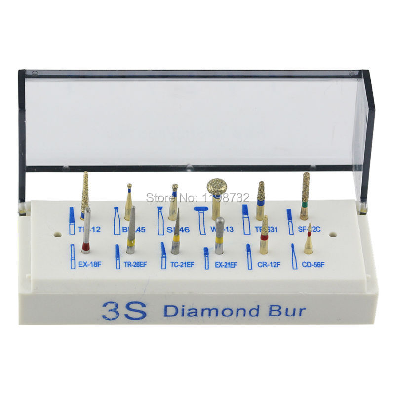 12Pcs Dental Diamond Burs FG 1.6mm High Speed for All-Ceramic Porcelain Prepared Teeth Sets +1 Bur Holder Dentist Products(China (Mainland))