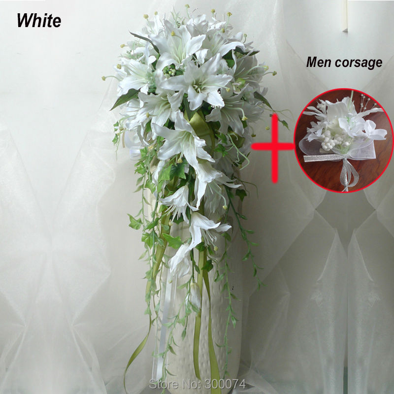 "11"" Artificial Flowers For A Wedding Large Cascading Waterfall Bouquets White Lily Flower Bouquet of Bride Silk Flowers Bouquets(China (Mainland))"