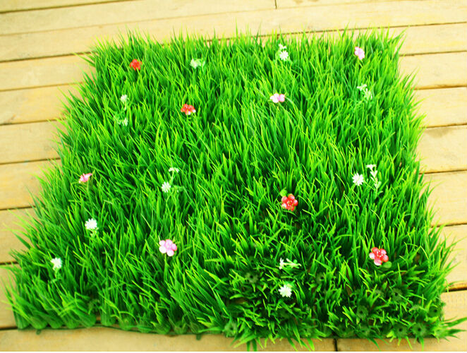 30CM*30CM New 2014 artificial long grass with flowers plastic plants grass mat grass lawn home decoration(China (Mainland))
