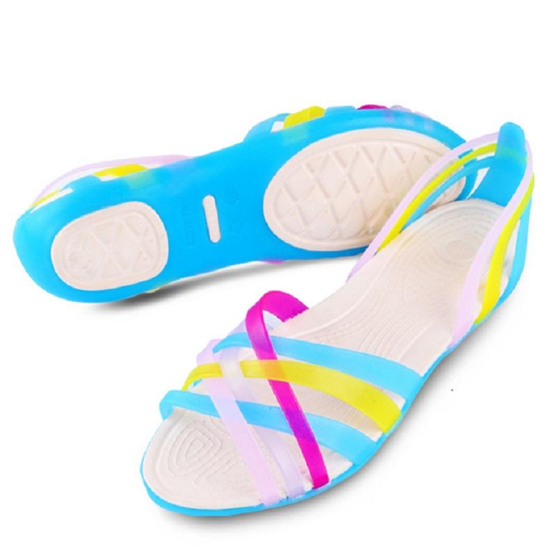 Fashion Gladiator Women Sandals Summer Cross Jelly Shoes Flat Plastic Beach Sandals Cute Ladies Slipper Flat Sandalias(China (Mainland))