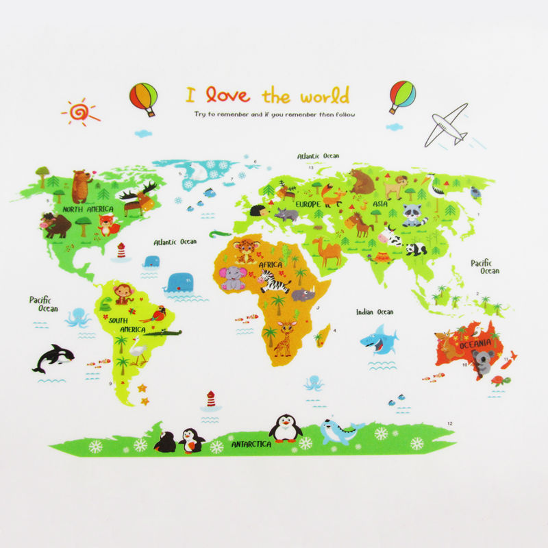 Cartoon World Map Wall Sticker Kids Room DIY Wall Stickers Home Decor Wall Decals Mural Animal World Map Poster Decoration(China (Mainland))