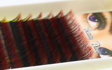 New Gradient Color Eyelash Ombre C Curl Red Mixed Length Individual Very Soft Silk Eyelash Extensions One Tray False Eyelash