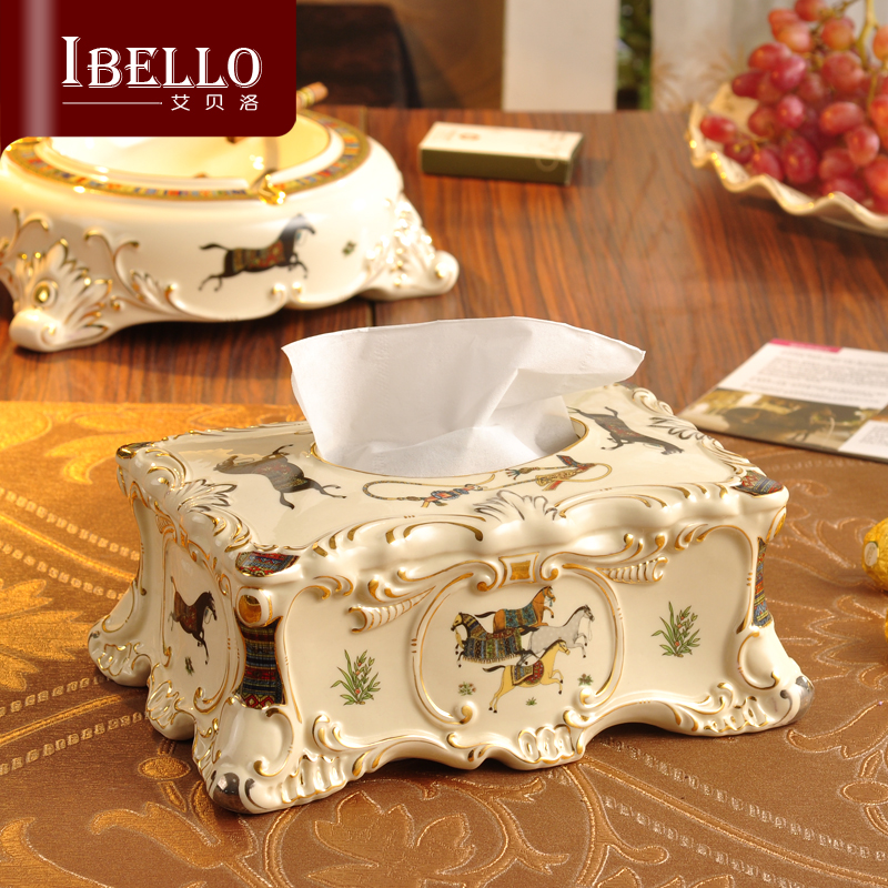 Hot Sale European Ceramic Tissue Boxes Fashion Pumping Carton Home Hotel KTV Table Decoration Storage Tissue Box Free Shipping(China (Mainland))
