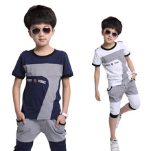 4-13age boys summer style casual British  plaid sport clothing sets kids high quality t-shirt + capris child clothes suits 576S(China (Mainland))