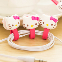 15pcs Mobile Accessories Wholesale Lovely Cartoon Hello Kitty Charm Button Cable Winder Cute Cord Earphone Date Line Holder QQ21