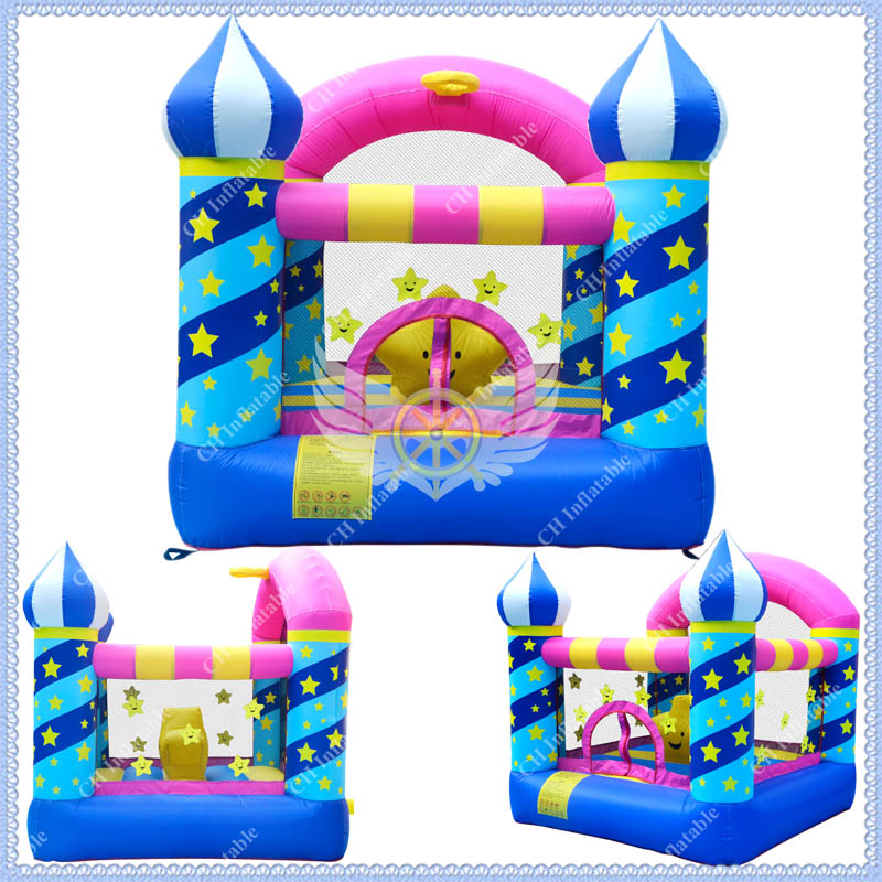 Wholesale Mini Inflatable Bouncy Castle, Inflatable Stars Bounce House for Kids,Free Air Blower Included(China (Mainland))