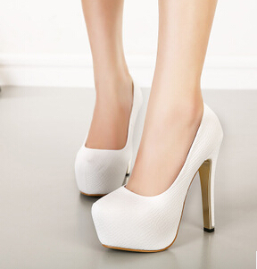White Closed Toe Heels - Qu Heel