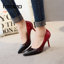 Buy MS 2017 Women pumps Fashion pointed toe patent leather stiletto high heels shoes Spring Summer Wedding Shoes woman high heels for $15.80 in AliExpress store