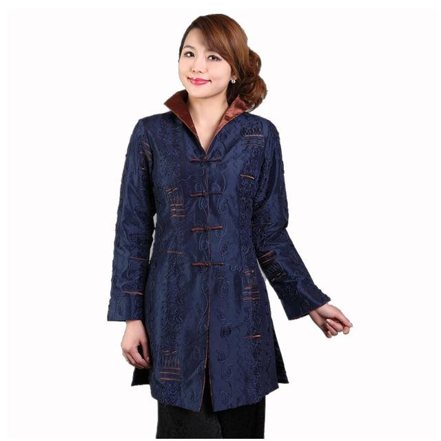 Темно-синий китайских женщин шелковый атлас пальто старинные ручной куртка осень ...