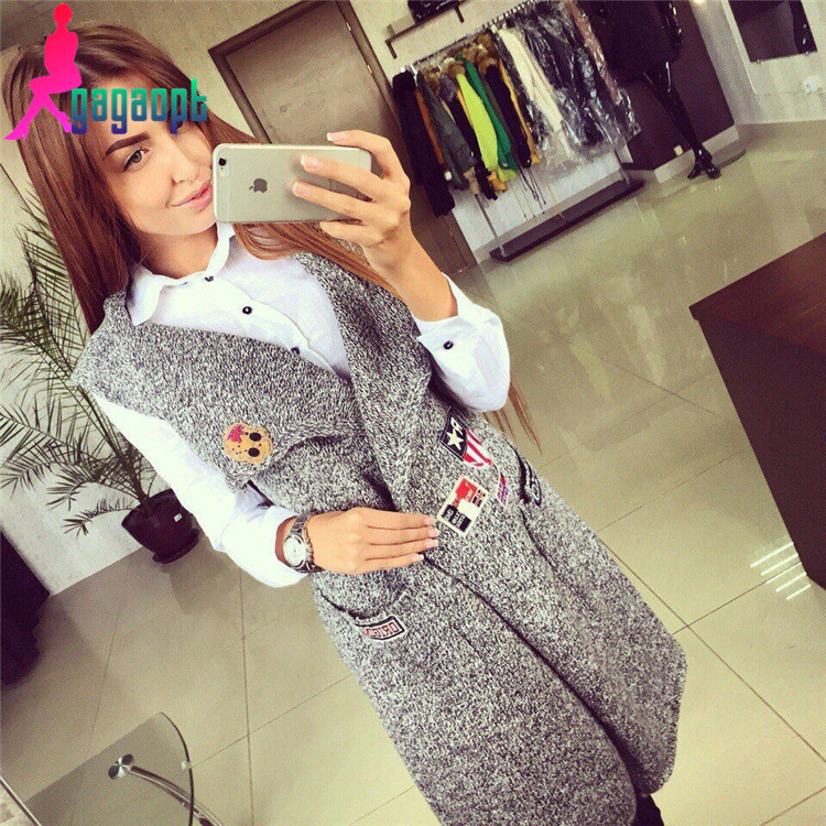 2015 NEW Women autumn and winter fashion Knitted Vest Sleeveless Jacket