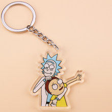 Bonito anime dos desenhos animados rick e morty chaveiro acrílico chaveiro feminino e masculino crianças chaveiro presente porte clef(China)