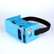 Newest DIY VR 1.0 Virtual Reality Headset 3D Glasses For iPhone 6S 5S Samsung 4.0 – 5.5 inch Smart phone Portable Leather Case