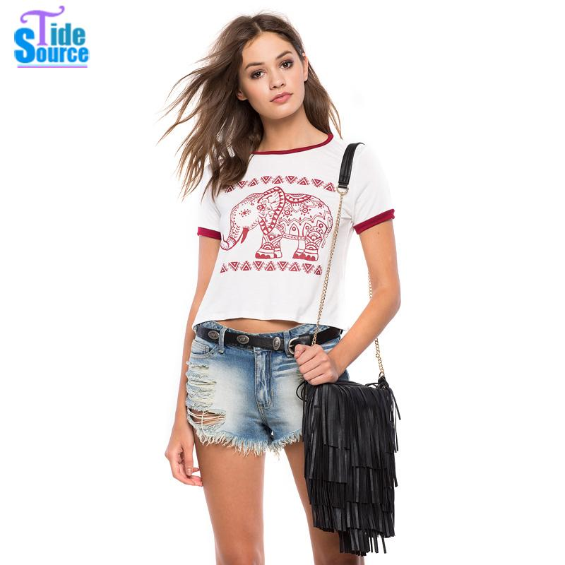TideSource 2016 Summer Elephant Totem Printed Tshirt Women All-match Slim Short Sleeve Casual Crop Top Unique Casual Tops Tees(China (Mainland))