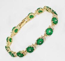 USA Amazing beautiful green jade Gold plated bracelet 7.5inch 19cm Girl Woman MEN Quartz jewelry 2 pcs Lustrous 14k Gold Plated(China (Mainland))