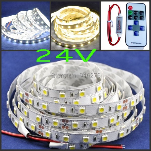 2 X 5m 10m 24V LED strip 5050 SMD Flexible stripe light cool white / warm white 60leds/m + 5-24V RF remote dimmer controler(China (Mainland))